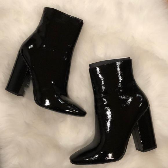 Black Patent Leather Booties | Poshmark